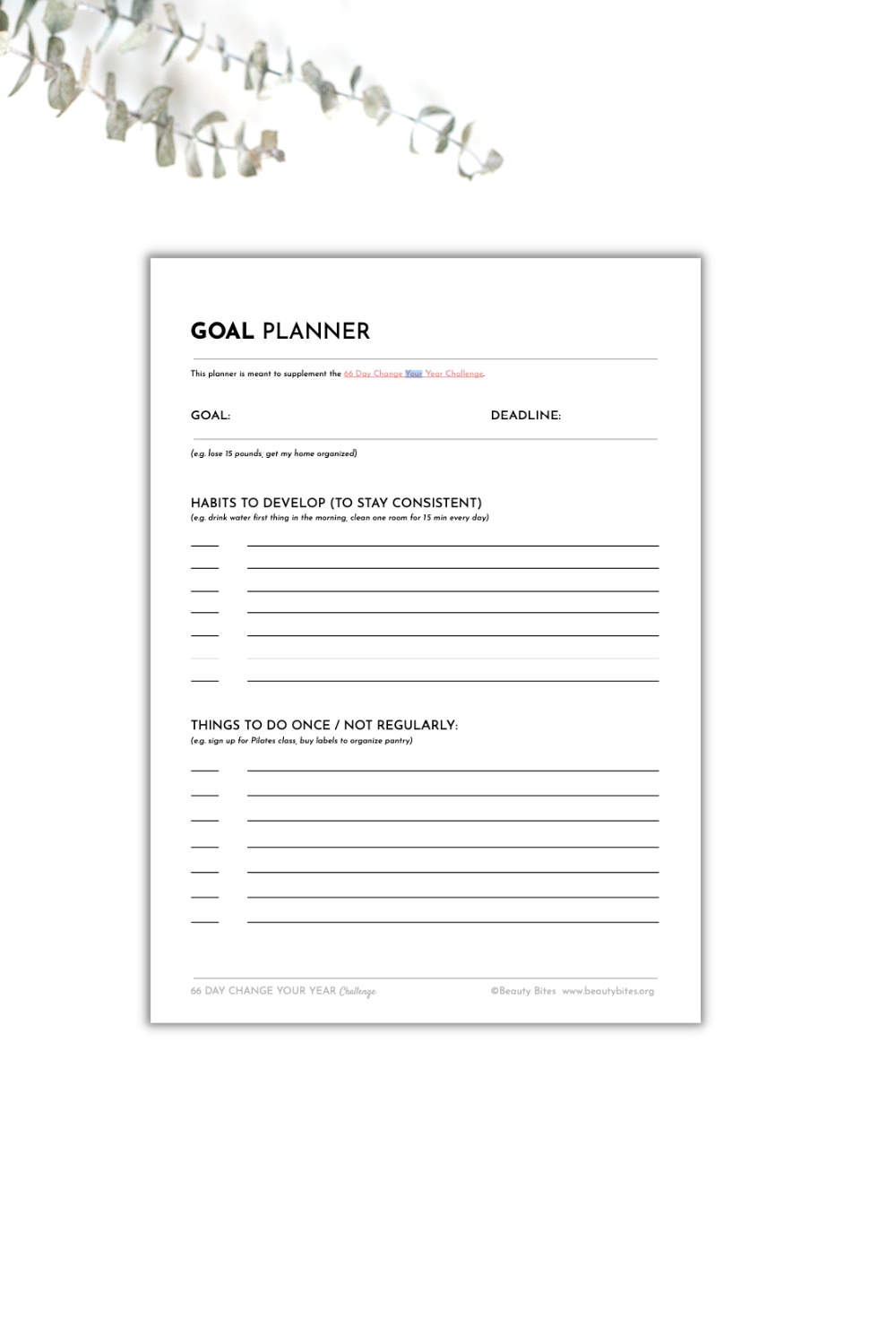 free goal planner template - not that busy